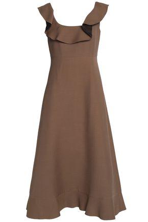 VALENTINO Ruffled wool and silk-blend midi dress