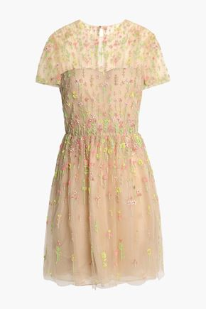 VALENTINO Gathered beaded tulle mini dress