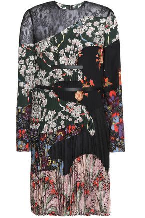 VALENTINO Lace-paneled pleated floral-print silk crepe de chine mini dress