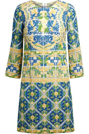 DOLCE & GABBANA Cotton-blend guipure lace mini dress