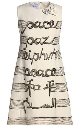 VALENTINO Embellished wool and silk-blend mini dress