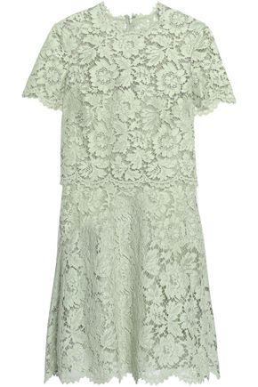 VALENTINO Layered cotton-blend corded lace mini dress