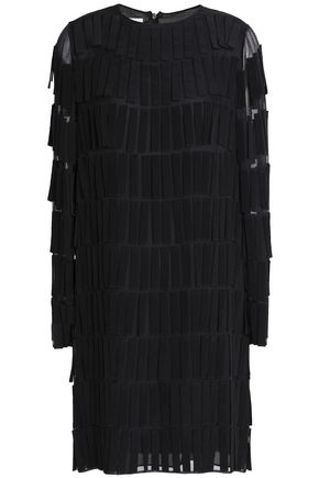 VALENTINO Fringe-trimmed voile mini dress
