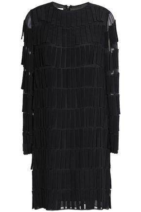 VALENTINO Fringe-trimmed voile mini dress