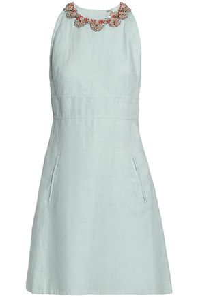VALENTINO Flared embellished linen mini dress