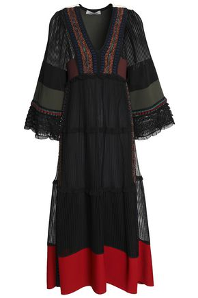 VALENTINO Paneled silk midi dress