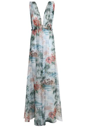 VALENTINO Floral-print silk-voile maxi dress