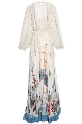 VALENTINO Pleated printed silk-chiffon gown