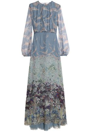 VALENTINO Gathered printed silk-chiffon maxi dress