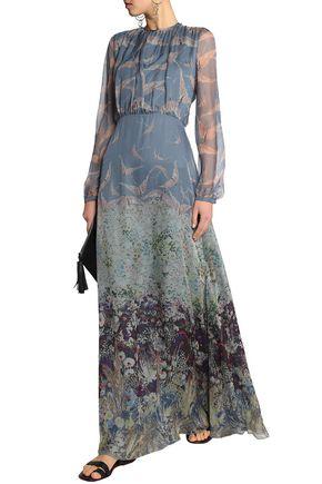 VALENTINO Printed silk-chiffon maxi dress