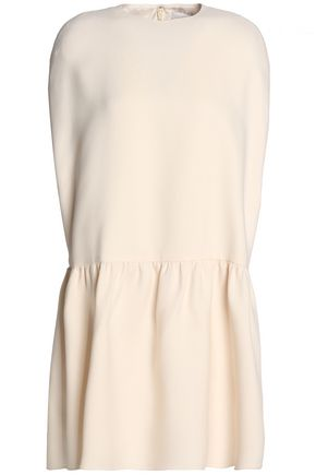 VALENTINO Gathered wool and silk-blend mini dress