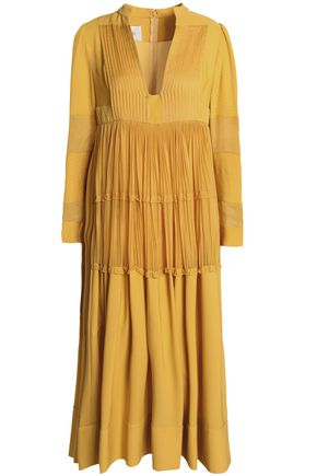VALENTINO Paneled silk-crepe de chine midi dress