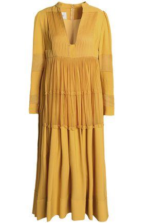 VALENTINO Paneled silk-crepe de chine midi dress