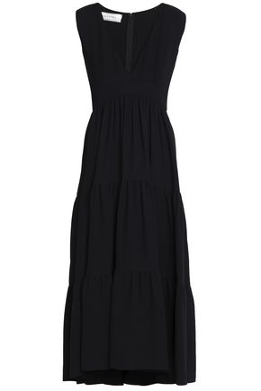VALENTINO Tiered silk-crepe maxi dress