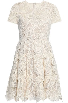 VALENTINO Tiered corded cotton-blend lace dress