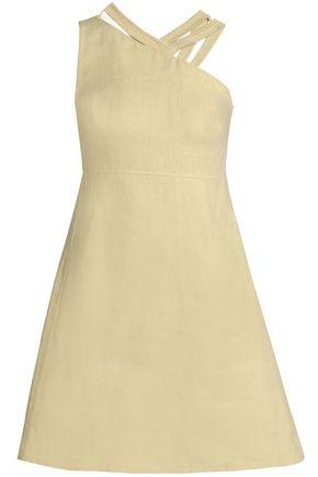 VALENTINO One-shoulder linen mini dress