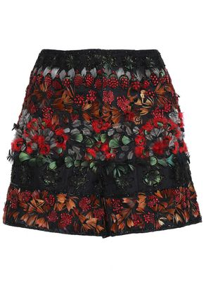 VALENTINO Feather-trimmed embellished tulle shorts