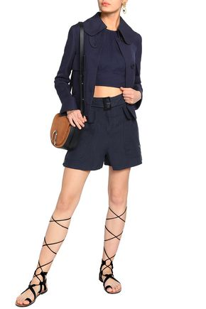 VALENTINO Belted linen shorts