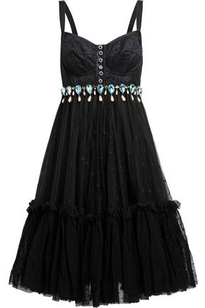 DOLCE & GABBANA Flared embellished lace, satin and point d'esprit dress
