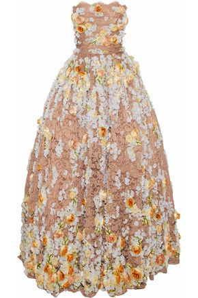 DOLCE & GABBANA Strapless embellished lace gown