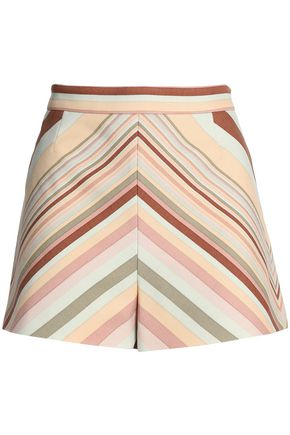 VALENTINO Striped wool and silk-blend shorts