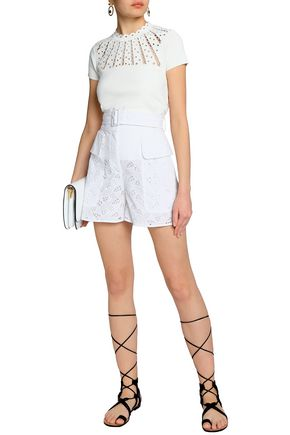VALENTINO Belted broderie anglaise cotton-blend shorts