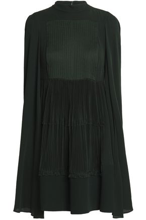 VALENTINO Cape-back pleated silk crepe de chine mini dress