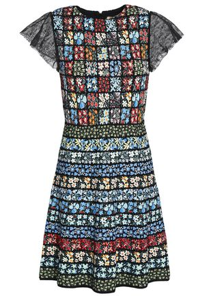 VALENTINO Chantilly lace-trimmed floral jacquard-knit mini dress