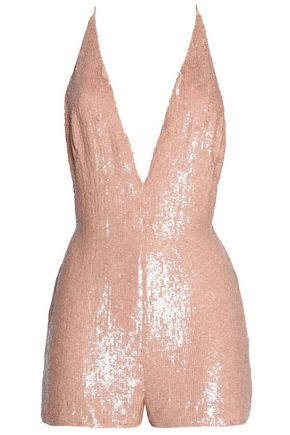 VALENTINO Open-back sequined silk playsuit