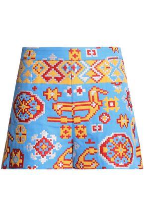 VALENTINO Metallic cotton-blend jacquard shorts