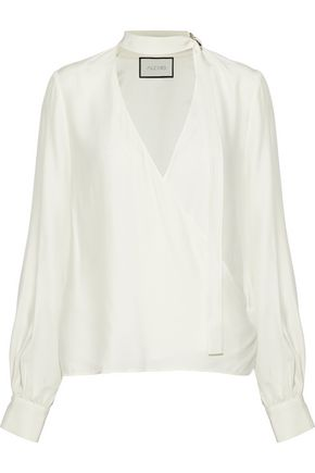 ALEXIS Wrap-effect silk blouse