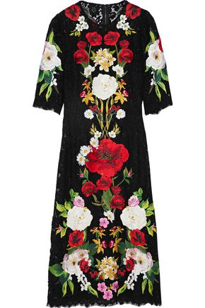 DOLCE & GABBANA Embroidered cotton-blend corded lace midi dress