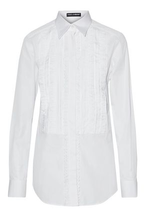 DOLCE & GABBANA Pintucked cotton and silk-blend poplin shirt