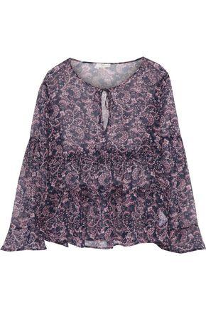 JOIE Shawnita ruffled printed silk-chiffon blouse