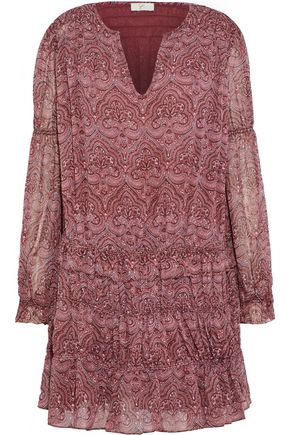JOIE Snow shirred printed silk-chiffon mini dress