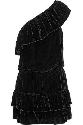 JOIE One-shoulder ruffled velvet mini dress