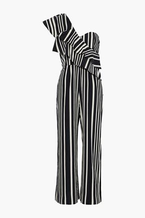 ALICE + OLIVIA Sabeen one-shoulder ruffled striped cotton-blend jumpsuit