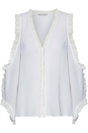 ALICE + OLIVIA Ruffle-trimmed cutout silk-blend georgette blouse