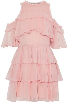 ALICE+OLIVIA Ruffled silk-georgette mini dress