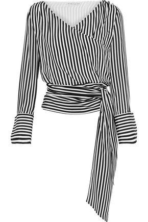 ALICE + OLIVIA Alba striped silk wrap top