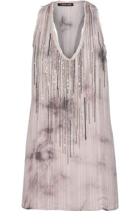 ROBERTO CAVALLI Embellished tie-dyed silk-jacquard top