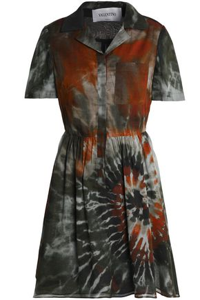 VALENTINO Pleated tie-dye cotton mini dress