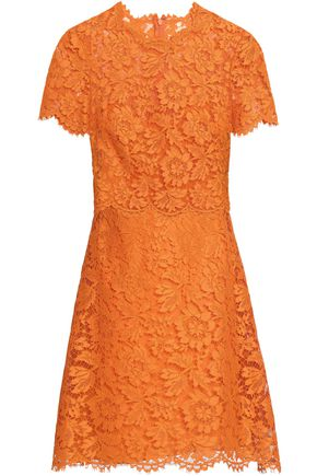 VALENTINO Scalloped cotton-blend corded lace mini dress