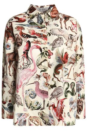 VALENTINO Printed cotton-poplin shirt