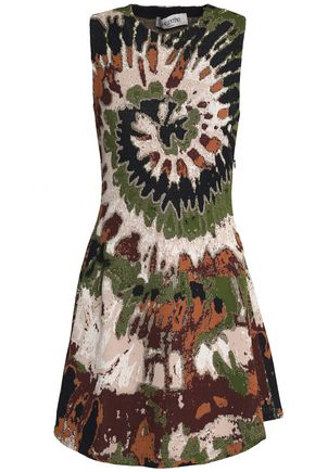 VALENTINO Flared jacquard-knit mini dress