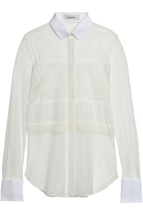VALENTINO Piqué-trimmed lace and point d'esprit shirt
