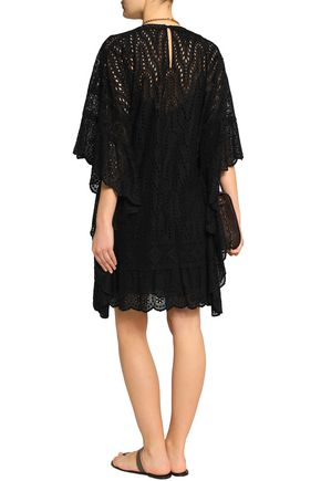 VALENTINO Draped broderie anglaise cotton-blend mini dress