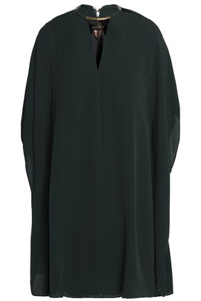 VALENTINO Embellished silk-crepe mini dress