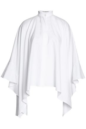 VALENTINO Draped ruffled cotton-oxford blouse