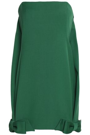 VALENTINO Strapless bow-embellished wool-blend mini dress